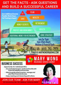 Mary Wong Insurance is hiring.  We are actively seeking individuals who are interested in a career in the financial industry.